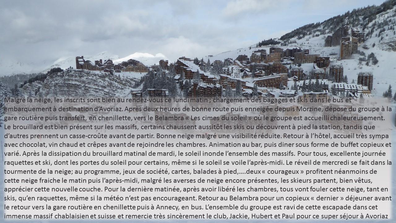Séjour ski Avoriaz janvier 2019